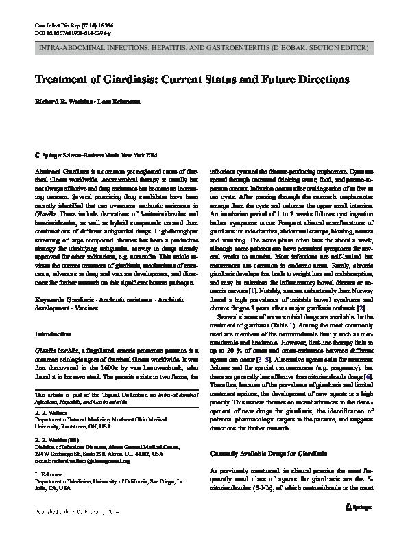 Giardia gastroenteritis treatment.